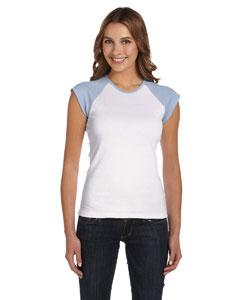 White/baby Blue Women's Baby Rib Cap-Sleeve Contrast Raglan T-Shirt