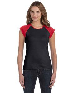Black/red Women's Baby Rib Cap-Sleeve Contrast Raglan T-Shirt