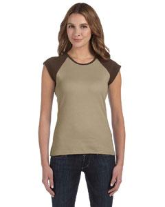 Tan/chocolate Women's Baby Rib Cap-Sleeve Contrast Raglan T-Shirt