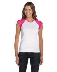 White/fuchsia Women's Baby Rib Cap-Sleeve Contrast Raglan T-Shirt