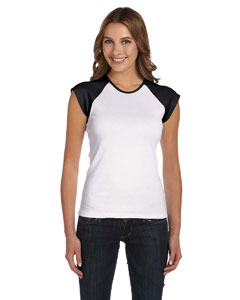 White/black Women's Baby Rib Cap-Sleeve Contrast Raglan T-Shirt