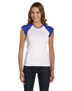 White/true Royal Women's Baby Rib Cap-Sleeve Contrast Raglan T-Shirt