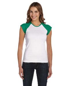 White/kelly Women's Baby Rib Cap-Sleeve Contrast Raglan T-Shirt
