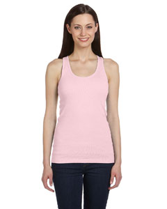 Soft Pink Women's 2x1 Rib Racerback Longer Length Tank