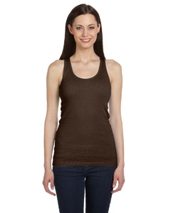 Chocolate Women's 2x1 Rib Racerback Longer Length Tank