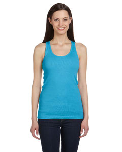 Turquoise Women's 2x1 Rib Racerback Longer Length Tank