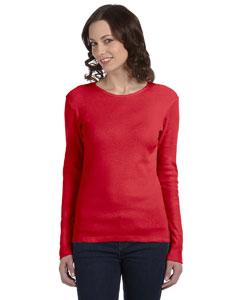Red Women's Baby Rib Long-Sleeve T-Shirt