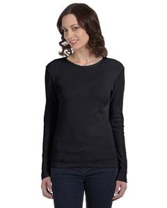 Black Women's Baby Rib Long-Sleeve T-Shirt