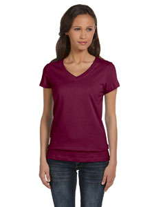 Maroon Women's Jersey Short-Sleeve V-Neck T-Shirt