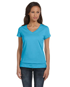 Ocean Blue Women's Jersey Short-Sleeve V-Neck T-Shirt