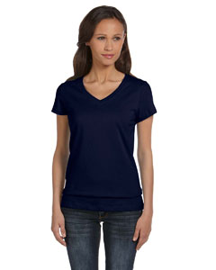 Navy Women's Jersey Short-Sleeve V-Neck T-Shirt