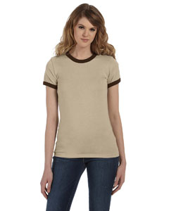 Hthr Tan/chocolate Women's Heather Jersey Short-Sleeve Ringer T-Shirt