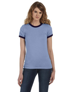 Hthr Blue/navy Women's Heather Jersey Short-Sleeve Ringer T-Shirt