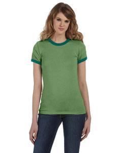 Hthr Green/forest Women's Heather Jersey Short-Sleeve Ringer T-Shirt