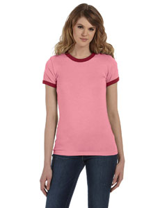 Hthr Pink/cardinal Women's Heather Jersey Short-Sleeve Ringer T-Shirt