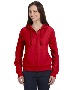 Red Women's Fleece Full-Zip Raglan Hoodie