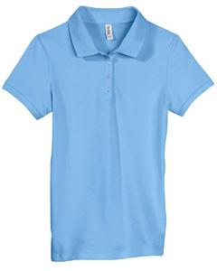 Ocean Blue Women's Cotton Spandex Mini Piqué Short-Sleeve Polo
