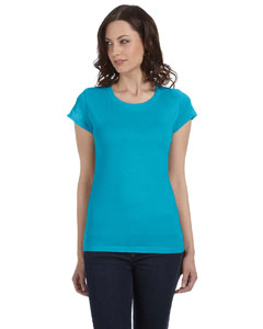 Turquoise Women's Sheer Jersey Short-Sleeve T-Shirt