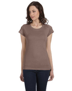 Pebble Brown Women's Sheer Jersey Short-Sleeve T-Shirt