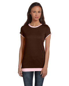 Chocolate/soft Pink Women's Sheer Jersey Short-Sleeve 2-in-1 T-Shirt