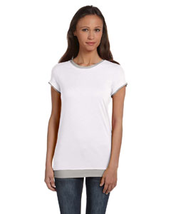 White/athletic Hthr Women's Sheer Jersey Short-Sleeve 2-in-1 T-Shirt