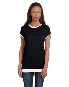 Black/white Women's Sheer Jersey Short-Sleeve 2-in-1 T-Shirt