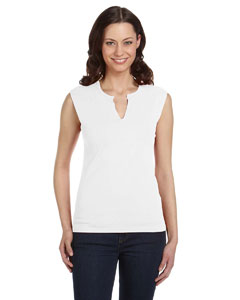 White Women's Cotton/Spandex Slit-V Raglan T-Shirt