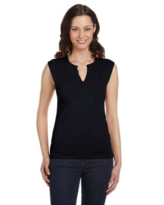 Black Women's Cotton/Spandex Slit-V Raglan T-Shirt