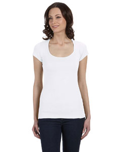 White Women's Sheer Mini Rib Short-Sleeve Scoop Neck T-Shirt