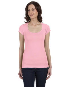Pink Women's Sheer Mini Rib Short-Sleeve Scoop Neck T-Shirt