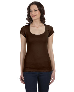 Chocolate Women's Sheer Mini Rib Short-Sleeve Scoop Neck T-Shirt