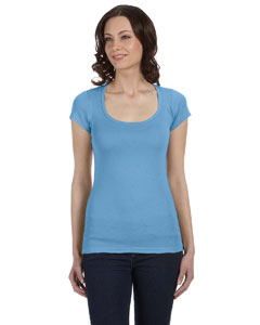 Ocean Blue Women's Sheer Mini Rib Short-Sleeve Scoop Neck T-Shirt