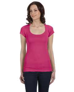 Berry Women's Sheer Mini Rib Short-Sleeve Scoop Neck T-Shirt