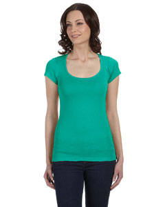 Teal Women's Sheer Mini Rib Short-Sleeve Scoop Neck T-Shirt