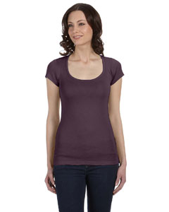 Plum Women's Sheer Mini Rib Short-Sleeve Scoop Neck T-Shirt