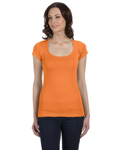 Orange Sorbet Women's Sheer Mini Rib Short-Sleeve Scoop Neck T-Shirt