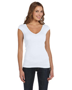 White Women's Sheer Mini Rib Cap-Sleeve Deep V-Neck T-Shirt
