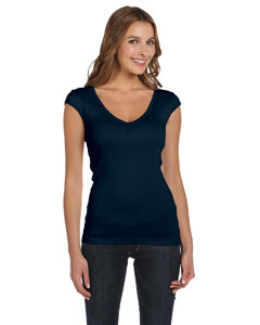 Midnight Women's Sheer Mini Rib Cap-Sleeve Deep V-Neck T-Shirt
