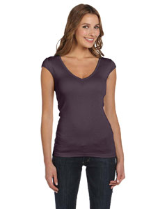 Plum Women's Sheer Mini Rib Cap-Sleeve Deep V-Neck T-Shirt