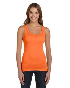 Orange Sorbet Women's Sheer Mini Rib Tank