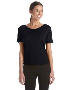 Black Women's Flowy Open Back T-Shirt