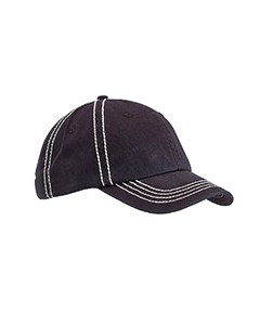 Black/crm Contrast Thick Stitch Unstructured Cap