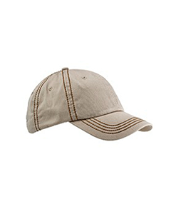 Stone/khaki Contrast Thick Stitch Unstructured Cap