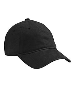 Black Heavy Brushed Twill Unstructured Cap