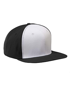 Black/white Flat Bill Cap