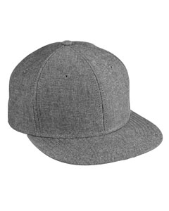 Black Chambray Flat Bill Cap