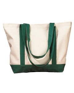 Natural/forest 12 oz. Canvas Boat Tote