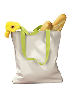 Natural/lime 12 oz. Canvas Tote with Contrasting Handles