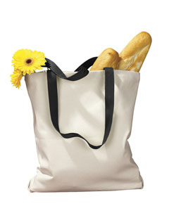 Natural/black 12 oz. Canvas Tote with Contrasting Handles
