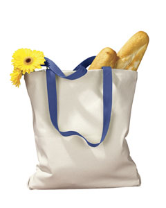 Natural/royal 12 oz. Canvas Tote with Contrasting Handles